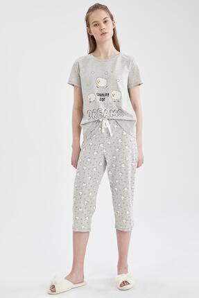 Defacto Relax Fit Kuzu Desenli Kısa Kol Pijama Takımı 0