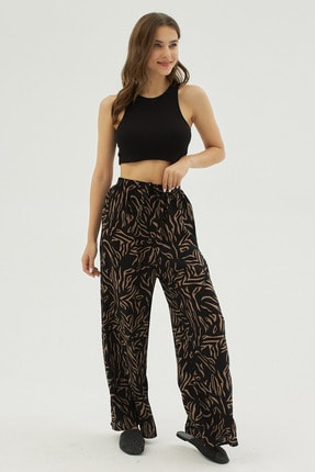Pattaya Kadın Siyah Zebra Desenli Geniş Paça Dokuma Pantolon P21s169-1233 1