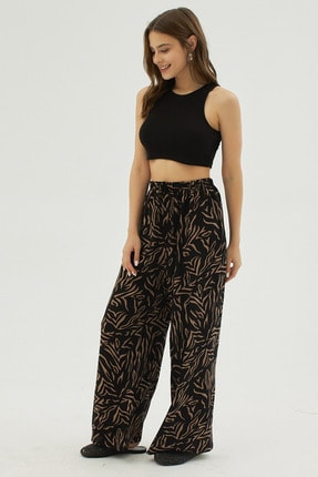 Pattaya Kadın Siyah Zebra Desenli Geniş Paça Dokuma Pantolon P21s169-1233 2