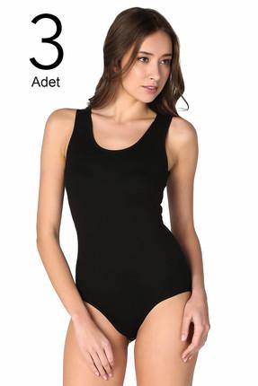 Tutku Kadın Siyah 3'lü Paket  Likralı Kancalı Çıtçıtlı Body ELF568T0149CCM3 0