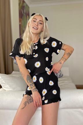 Pijamaevi Papatya Desenli Örme Kısa Kol Şortlu Pijama Takımı 2