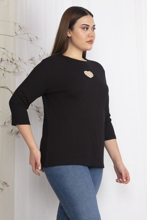 Şans Kadın Siyah Göğüs Detaylı Bluz 65N22445 0