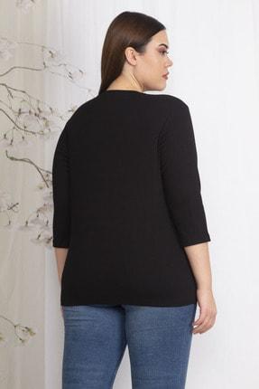 Şans Kadın Siyah Göğüs Detaylı Bluz 65N22445 1