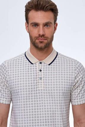 Hemington Erkek Kırık Beyaz Desenli Polo Yaka T-shirt 3