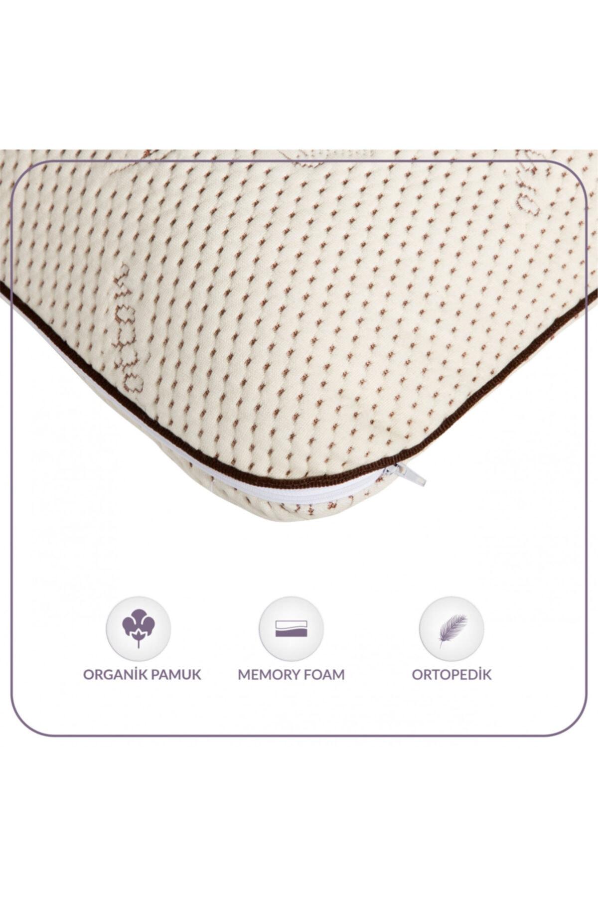 Rengirenk Ortopedik Yastık Viskoelastik Delikli Sünger Organik Pamuk Yumuşak Kılıf 40x60