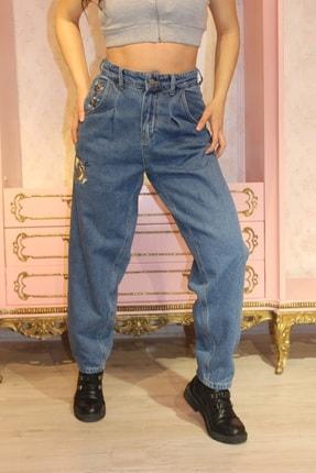 Grenj Fashion Kadın Mavi Önü Pileli Nakışlı Yüksek Bel Balon Jean Pantolon 0