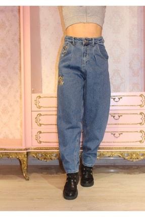 Grenj Fashion Kadın Mavi Önü Pileli Nakışlı Yüksek Bel Balon Jean Pantolon 1