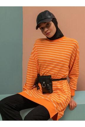 Soul Kadın Turuncu Çizgili Sweatshirt 3