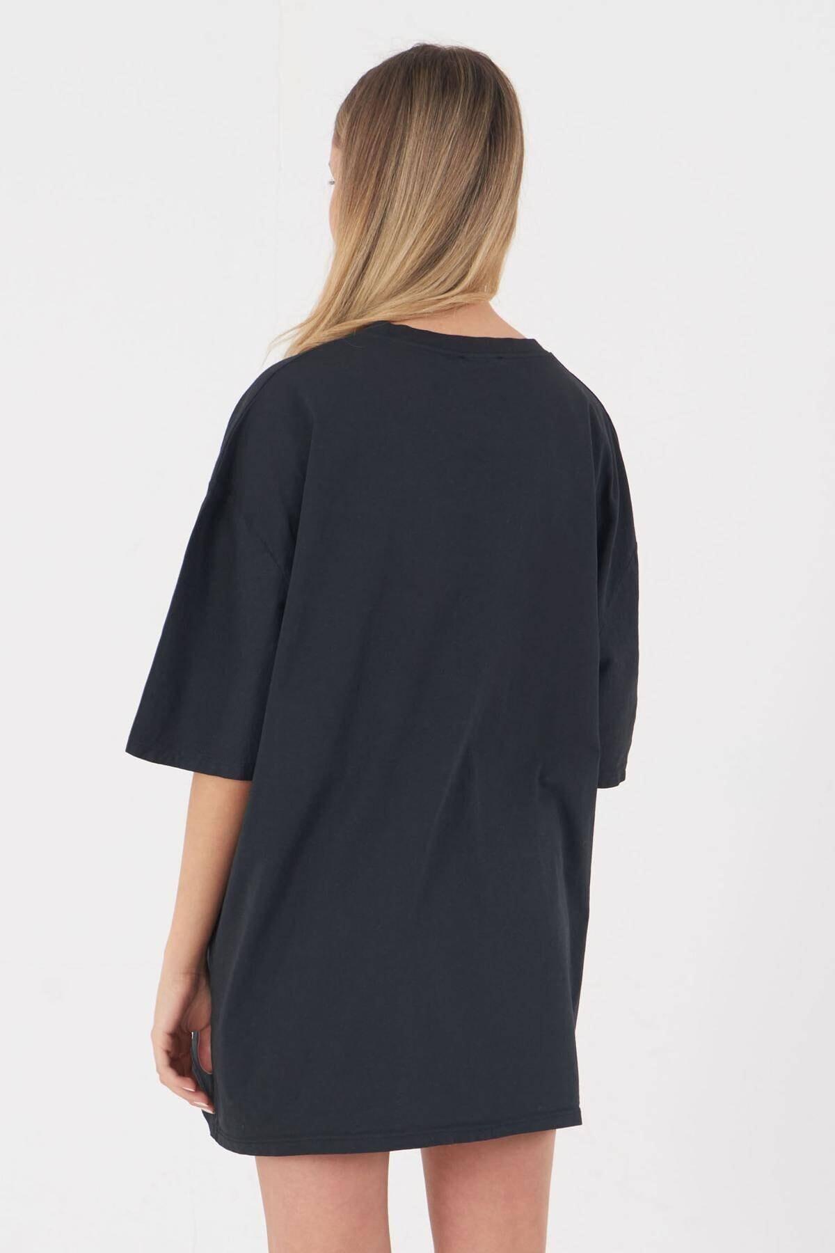 Addax Kadın Füme Baskılı T-shirt P9525 - P13 ADX-0000023818 4