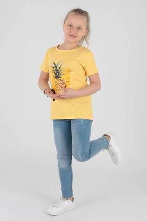 Ahenk Kids Kız Çocuk Sarı Ananas Baskılı Tshirt Ak721525 1