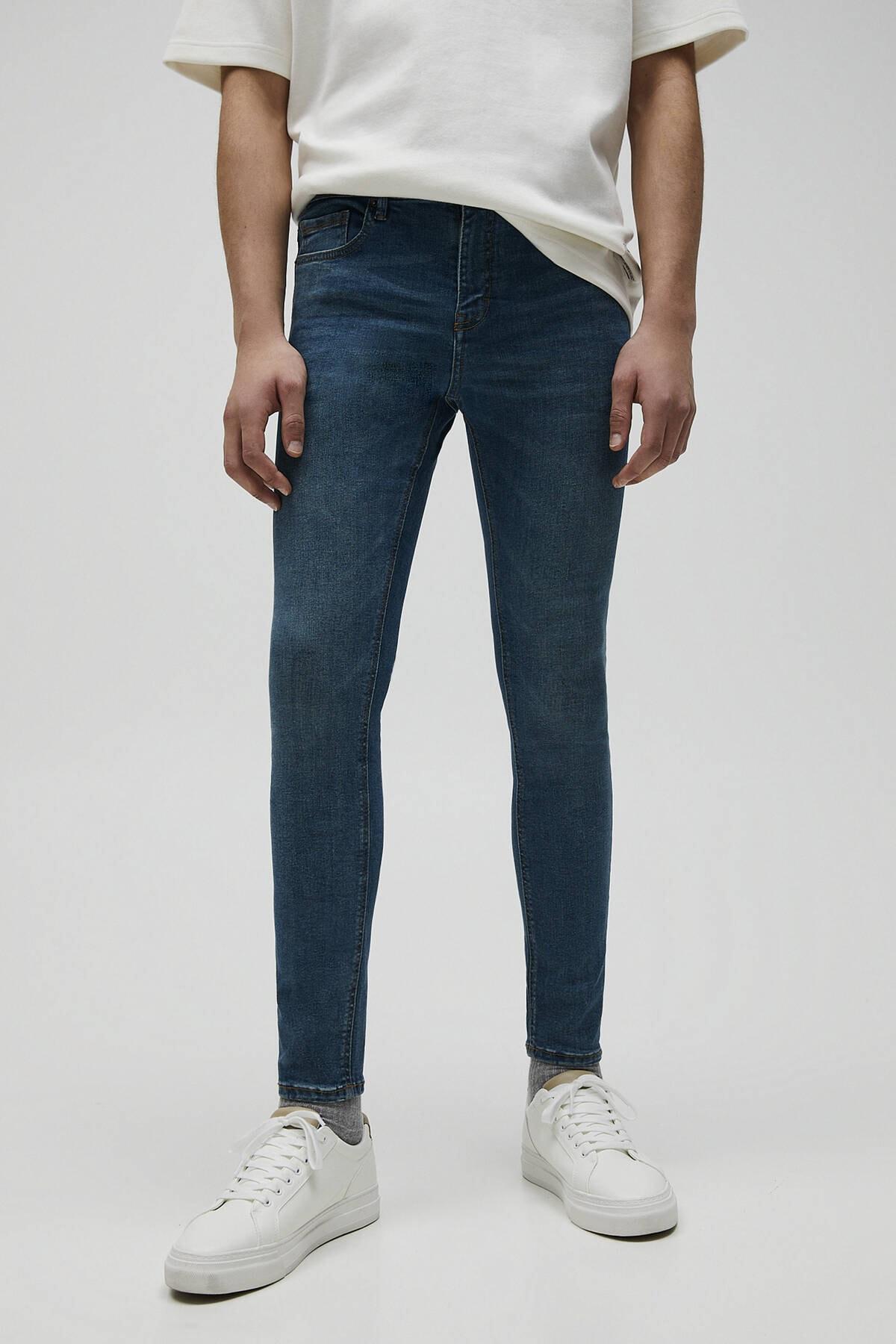 Pull & Bear Erkek Mavi Basic Super Skinny Fit Jean 04681520 0