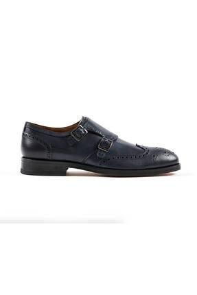 Hemington Erkek Tokalı El Yapımı Lacivert Deri Ayakkabı 0