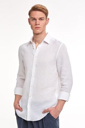 Hemington Beyaz Saf Keten Gömlek 0