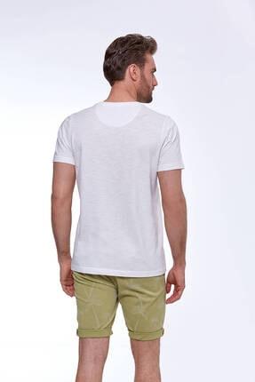 Hemington Erkek Baskılı Beyaz Pamuk T-shirt 3