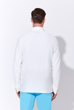Hemington Erkek Giza Pamuk Beyaz Triko Kruvaze Ceket 2