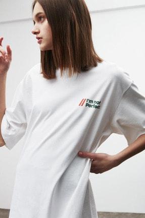 GRIMELANGE LOURDES Kadın Beyaz Önü ve Arkası Baskılı T-Shirt 3
