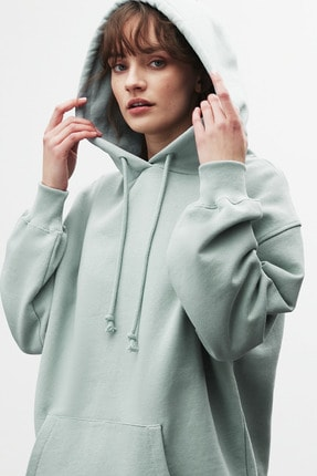 GRIMELANGE FRIDA Kadın Mint Oversize Kapüşonlu Sweatshirt 1