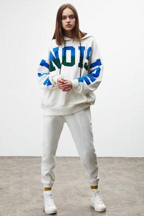 GRIMELANGE TINA Kadın Beyaz Önü Baskılı Extra Oversize Kapüşonlu Sweatshirt 1