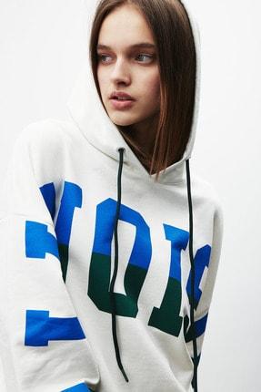 GRIMELANGE TINA Kadın Beyaz Önü Baskılı Extra Oversize Kapüşonlu Sweatshirt 4