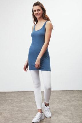 GRIMELANGE BELLA Kadın Mavi Dar Kesim Uzun Kolsuz  T-Shirt 4