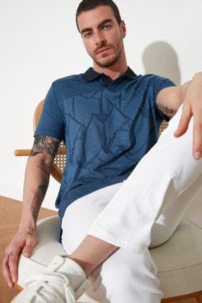 TRENDYOL MAN Mavi Erkek Regular Fit Polo Yaka T-shirt TMNSS21PO0026 2