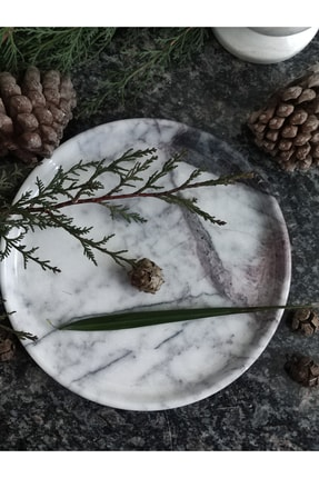Pergamon Lilac (Leylak) Mermeri Dekoratif Veya Sunum Tabağı Gerçek Mermer 0
