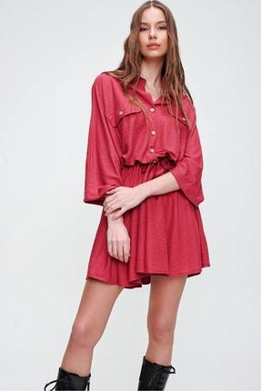 Trend Alaçatı Stili Kadın Kırmızı Safari Dokuma Elbise ALC-X5440 1