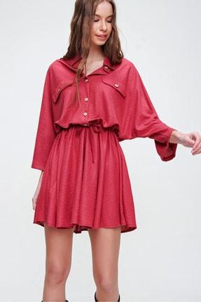 Trend Alaçatı Stili Kadın Kırmızı Safari Dokuma Elbise ALC-X5440 2