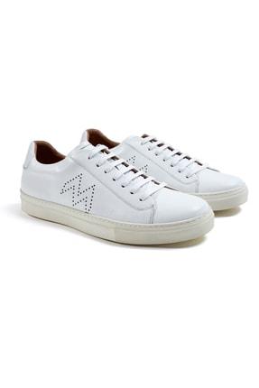 Hemington Erkek  Beyaz El Yapımı Deri Sneakers 2