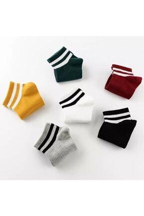 BGK Unisex 6 Çift Koton Çizgili Patik Çorap Extra Soft 1