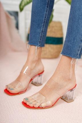 Moda Değirmeni Kadın Kırmızı Şeffaf  Şeffaf Topuklu Ayakkabı Md1050-119-0001 2