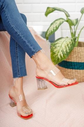 Moda Değirmeni Kadın Kırmızı Şeffaf  Şeffaf Topuklu Ayakkabı Md1050-119-0001 3