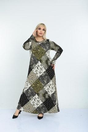Şirin Butik Kadın Haki Yaka Pervazlı Viskon Elbise 3