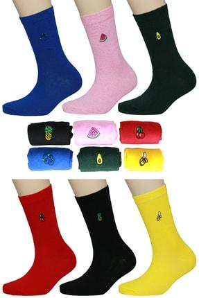 FandD 6'lı Meyveler Nakışlı Renkli Çorap 0