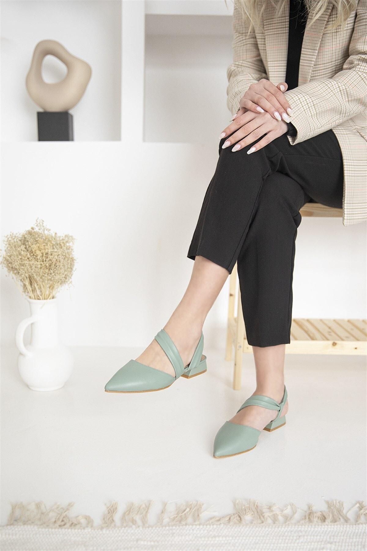 Kadın Topuklu Deri Sandalet Yeşil