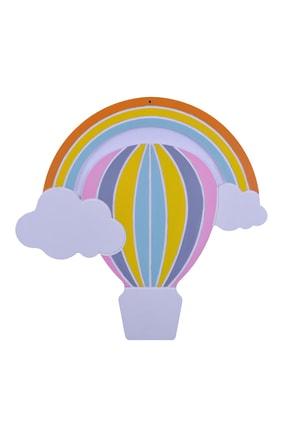 Odeon Mavi Sıcak Balon Dekoratif Ahşap Duvar Süsü 0