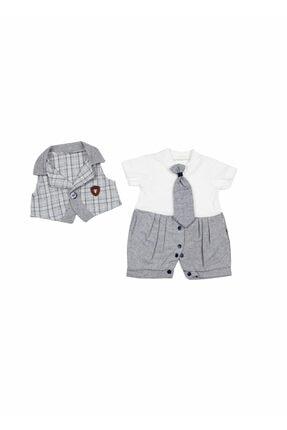 Erkek Bebek Yelekli Tulum/gri/6 Ay MEGMODA-36851