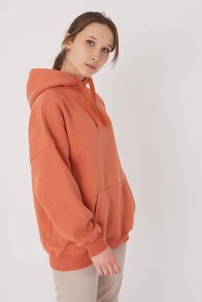 Addax Kadın Kayısı Kapüşonlu Sweatshirt S0519 - P10V1 Adx-0000014040 3