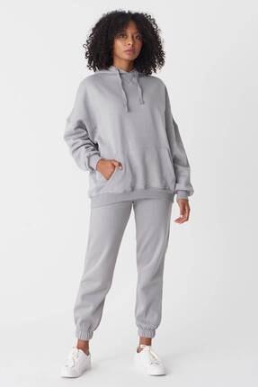 Addax Kadın Gri Kapüşonlu Sweatshirt S0519 - P10V1 Adx-0000014040 1