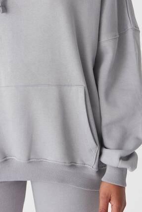 Addax Kadın Gri Kapüşonlu Sweatshirt S0519 - P10V1 Adx-0000014040 2