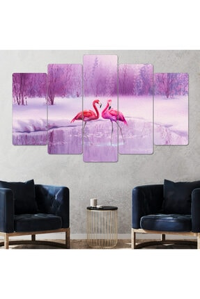 hanhomeart Flamingo Parçalı Ahşap Duvar Tablo Seti-5pr-951 0