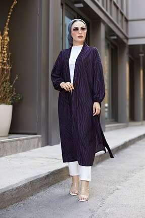 Elifnur Kadın Mor Desenli Kimono 8889-9 0