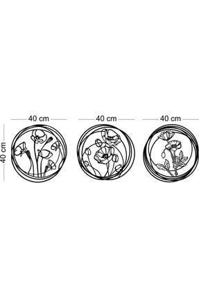 karakoç eğitim araçları Ahşap Dekoratif Üç Parça Gelincik Tablo Çiçekli Duvar Süsü Ev Hediyesi Metal Değildir. 2