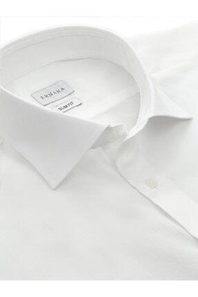 EMNANA Erkek  Beyaz   Buruşmaz Wrinkle Free Slim Fit Gömlek 1