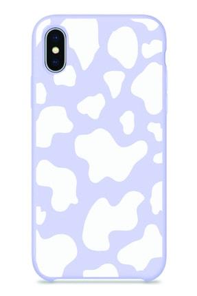 NEWTONS Iphone X/xs Lila Renkli Inek Desenli Baskılı Slikon Kılıf 0