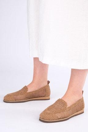 Marjin Kadın Taba Toliva Örgü Hasır Loafer Ayakkabı 1