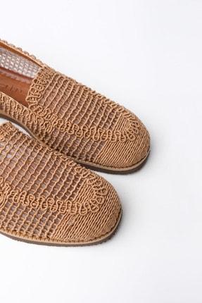 Marjin Kadın Taba Toliva Örgü Hasır Loafer Ayakkabı 2