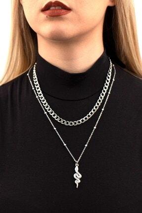 X-Lady Accessories Yılan Figürlü Kombin Kolye Gümüş Rengi 0