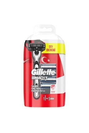 Gillette Mach3 Tıraş Makinesi (5 Yedek Bıçak) + Tıraş Jeli Cool /7 Parça Set 1