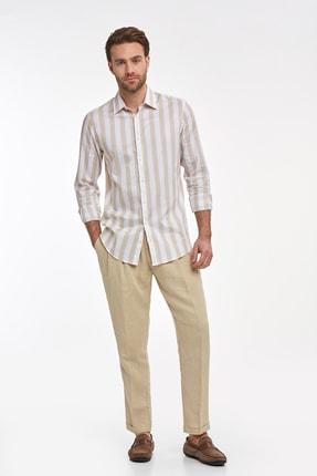 Hemington Erkek Kum Rengi Saf Keten Pileli Pantolon 1